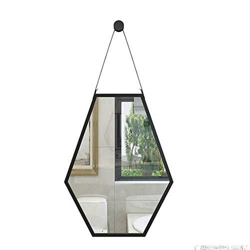 QTMHT wandhangspiegel zeshoekige diamantvormige decoratieve spiegels praktische douche accessoire voor badkamer en douche zwart