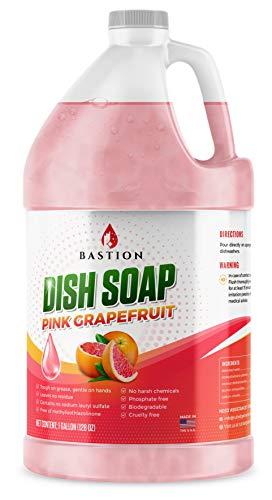 Dish Soap - Liquid Dishwashing Degreaser & Detergent - Pink Grapefruit Fragrance - Gallon Bulk Refill Bottle (128 oz) - All Natural - Cruelty Free by Bastion