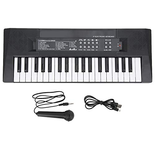 Piano de teclado eléctrico, 37 teclas, función de grabación de micrófono de piano, juguete de instrumentos musicales para niños, 8 tonos, 6 canciones, 5 ritmos, 5 música de percusión