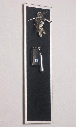 FLUX-objects Magnet - Schlüsselbrett aus Edelstahl (42 x 12 cm), mit Filz in Schwarz