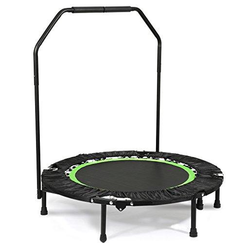 swiftt Fitness Trampolino sportivo pieghevole con manico regolabile in altezza, per interni, ginnastica, trampolino per adulti, portata fino a 135 kg, angolo regolabile (max 18 °)