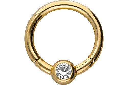 PIERCINGLINE 750er Gold Segmentring Clicker | 18 KARAT | KRISTALL | Piercing Ring Septum Helix Tragus | Farb & Größenauswahl