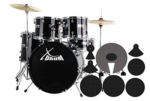 """XDrum Semi 22\"""" Standard Schlagzeug Midnight Black Set (22\"""" BD, 14\"""" x 5\"""" SD, 12\"""" + 13\"""" TT, 16\"""" FT, inkl. Dämpferset) schwarz"""