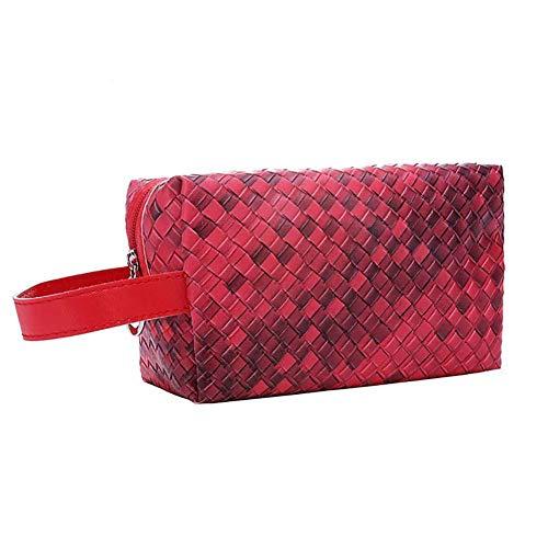 BIGBOBA Sac à cosmétiques pour dames, sac à cosmétiques en PU imperméable multifonctionnel portable, sac à main tissé (Gros rouge)
