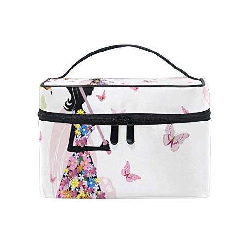 Rose Fairy Girl Butterfly Floral Umbrella Cosmetic Bag Toiletry Travel Makeup Case Poignée Pouch Multi-Function Organizer pour Les Femmes