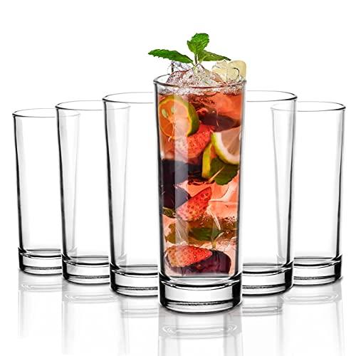 Amisglass Bicchiere Highball, Set 6 Bicchieri Bibita in Vetro Cristallo Senza Piombo di Grande capacità, per Long Drink, Acqua, Succo Birra, Bicchieri da Cocktail, Lavabili in Lavastoviglie - 350ml