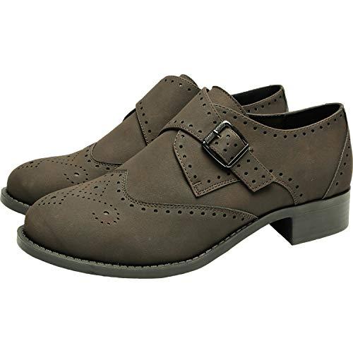 Women's Wide Width Brogue Oxfords - Low Heel Urban Formal Monk Strap Shoes.(181168,Dark Brown,11.5)
