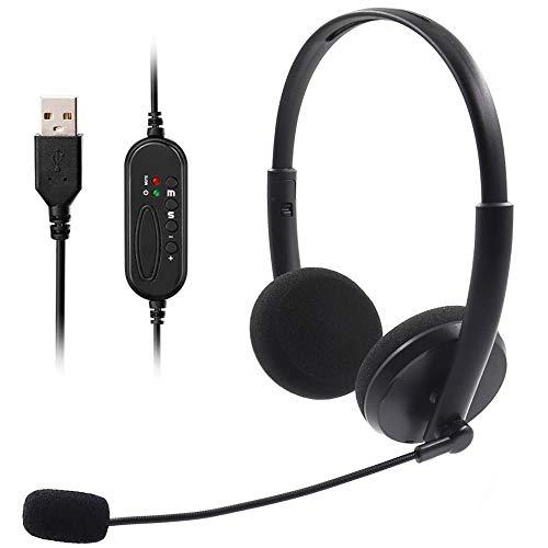 Auriculares de ordenador,auriculares USB con micrófono ajustable con cancelación de ruido,estéreo-conductor comodidad auriculares duraderos con conversación clara para teléfono de conferencia