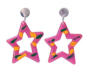 80s Pink Star Earrings