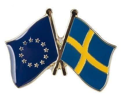 Pin de Solapa Bandera de La Unión Europea y Bandera de Suecia | Pines Originales Para Regalar | Para las Camisas, la Ropa o para tu Mochila | Detalles Divertidos