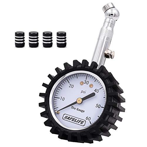 SAFELIFE Tire Pressure Gauge 0-60 PSI Heavy Duty Tire Gauge for Car Motorcycle