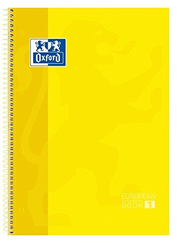 Oxford cuaderno Europeanbook 1, microperforado, tapa extradura, espiral, a4+, cuadrícula 5×5, color amarillo