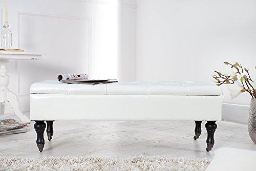 Edle Design Truhenbank BOUTIQUE, weiß, 110cm - 4