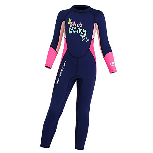 Dark Lightning Kids Wetsuit Full Thermal Suit, Grils Neoprene One Piece Fishing Suits, 2mm Long Sleeve Swimsuit for Children Scuba Diving, Surfing, Paddling, Swimming, Blue, M Size