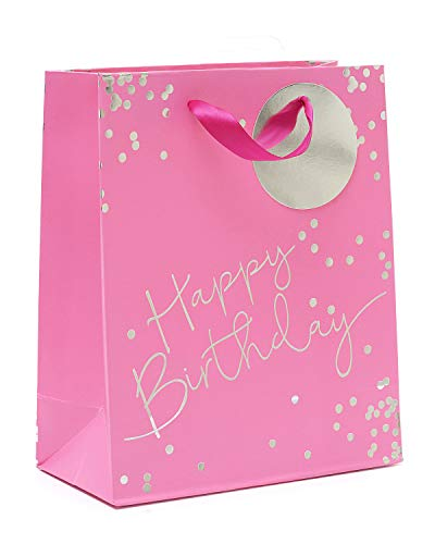 Birthday Gift Bag Medium - Pink Medium Gift Bag for Her with Foil - Perfect Happy Birthday Gift Wrap Bag - Pink Party Bag