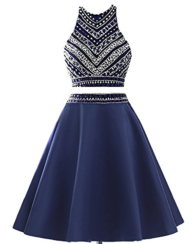 MEILISAY Meilishuo Two Pieces Beaded Sparkly Prom Ball Gown Short Mini Homecoming Dresses 2 Piece Navy Blue