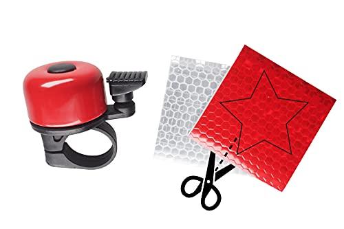 Generic Mini Fahrradklingel inkl. Reflektor-Set - ideal für Kinder und Erwachsene - klingelt laut und klar - Farbe rot - passend für alle Standard-Lenker - fünf Farben verfügbar - aus Aluminium