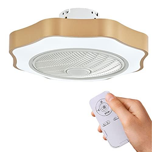 Ventilador de techo LED con ventilador de iluminación Luz de techo LED Ventilador de techo ultra silencioso moderno Ventilador invisible Sala de estar Comedor Ventilador Lámpara(Color:D)