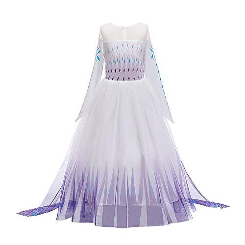Disfraz de princesa Elsa para niñas de OBEEII Frozen 2 Carnaval vestido Cosplay Halloween Navidad Fiesta Disfraz de Halloween + accesorios 2-14 años