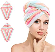 Farzeo 2pcs Soft Microfiber Quick Dry Hair Drying Towels Water-Absorbent Dry Hair Cap Bath Shower Wrap Turban Towel with B...
