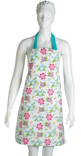 VIGAR Floral Adulte Tablier de Cuisine 100% Coton Satin Fleurs Turquoise