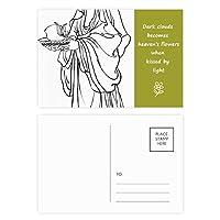 中国仏教のキャラクターフィギュア 詩のポストカードセットサンクスカード郵送側20個