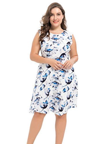 Chicwe Women's Stretch Floral Party Picnic Cocktail Plus Size Dress Blue 1X