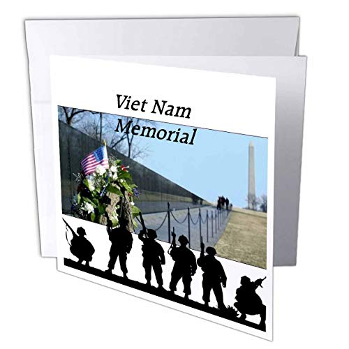 3dRose Lens Art by Florene - Memorial Day - Image of Viet NAM Memorial with Silhouette Soldiers - 6 Greeting Cards with envelopes (gc_309798_1)