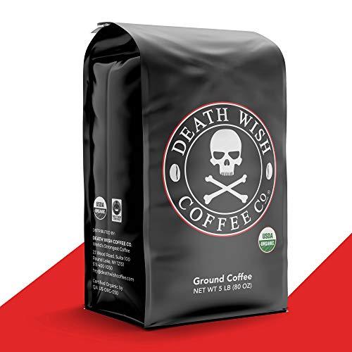 DEATH WISH COFFEE Dark Roast Coffee Grounds [5 Lbs.] The World's Strongest, USDA Certified Organic, Fair Trade, Arabica, Robusta (1-Pack)