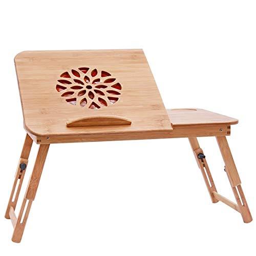 Mesa Portátil Ordenador Ajustable con Ruedas Escritorio plegable para computadora de madera maciza, mesa perezosa portátil para sala de estar, dormitorio, escritorio simple para el hogar, con ventilac