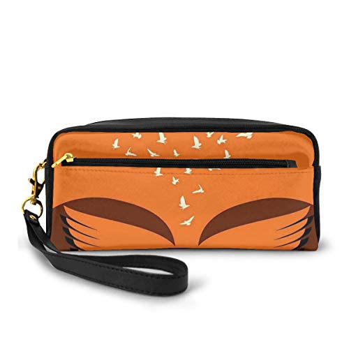 Pencil Case Pen Bag Pouch Stationary,Flying Birds from Two Human Heads Creativity Collaboration Theme,Small Makeup Bag Coin Purse