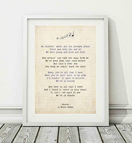 Didymus Co Bryan Adams – Heaven (v.2) – Songtext Posterdruck (ungerahmt) – Größen A4 A3, A3