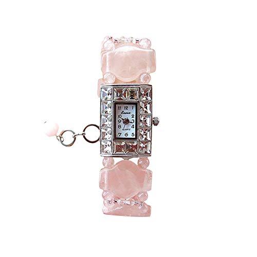 HWCOO Kristallarmbanduhr Uhr der quadratischen Diamant-Frauen natürliche Schwarze Onyx-Uhr-Tabelle Freizeit-Tabelle (Color : 2)