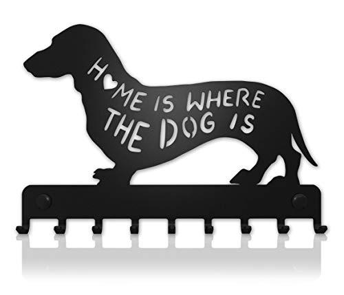 M-KeyCases Schlüsselbrett Dachshund Wand-Organizer Hund (9-Haken) Dekorativer Schlüssel-Board Hakenleiste Schlüsselleiste Vintage Decor Haus-tür Küche Fahrzeug-schlüssel Aufhänger Schwarz