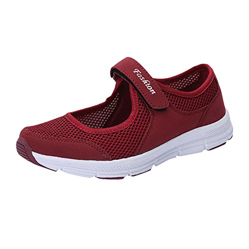 Alwayswin Damen Mesh Atmungsaktiv Walking Schuhe Klettverschluss Flacher Freizeitschuhe Bequeme Outdoor Sportshuhe Leichte Freizeit Sneakers Fitness Gym Laufschuhe