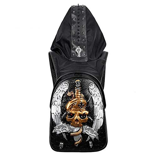 Dr.Sprayer Outdoor Airbed Backpack PU Leather Men's 3D Skull Backpack Punk Rock Dark Personality Hats Outdoor Sports Riding Bag Metal Rivets (Color : Silver)