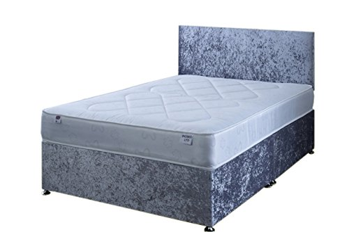 4FT Small Double Silver Crushed Velvet Divan Bed Set Including Deep Quilt Mattress And Headboard