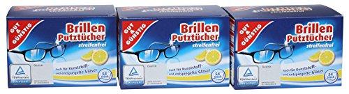Gut & Günstig Brillen Putztücher streifenfrei, 3er Set (3x52Stk. Packung)
