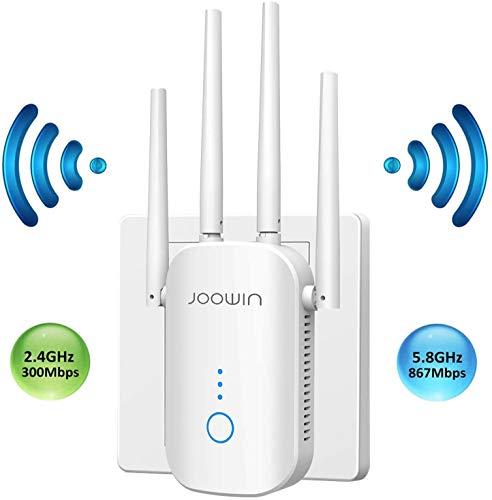 JOOWIN WLAN Repeater 12000Mbps Dual-WLAN AC+N WLAN Verstärker 5GHz 2,4GHz WiFi Range Extender mit Gigabit Ethernet LAN Port WPS WiFi Repeater/Router/AP WiFi Signal Booster (Weiß)