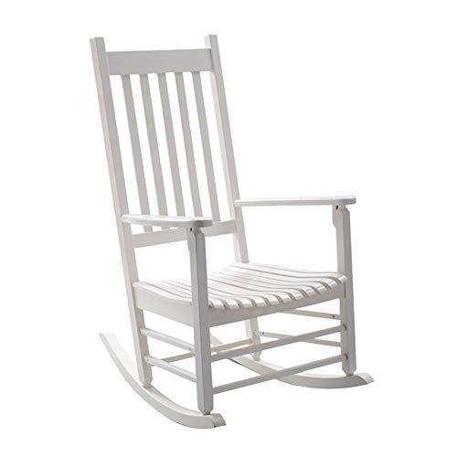 Schaukelstühle WSSF- Massivholz American Retro Freizeit Recliners Garten Balkon Nickerchen Bett Sessel Einfache Montage Faul Sonnenliege Farbe Optional, 72 * 80 * 116 cm (Farbe : Weiß)