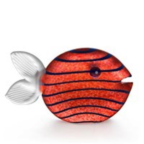 Oggetti - Hand Blown Glass Sculpture - Paperweight - Snippy Fish - Amber
