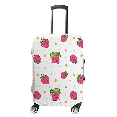 Verdickter waschbarer Kawaii-Hintergrund, Erdbeer-Marmelade, Polyester-Faser, elastisch, faltbar, leicht, Reisekoffer-Schutz