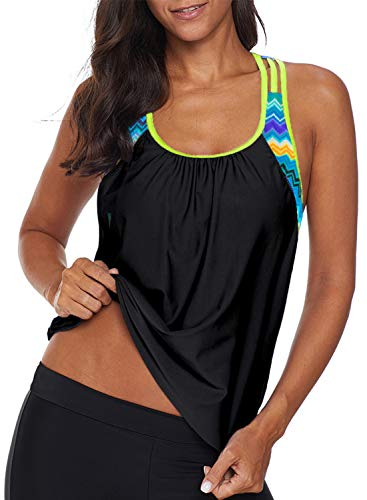 Aleumdr Womens Strap Racerback Color Block Printed Padded Tankini Tops Padded Swimsuits Slimming Swimwear Bathing Suits Black X-Large 14 16