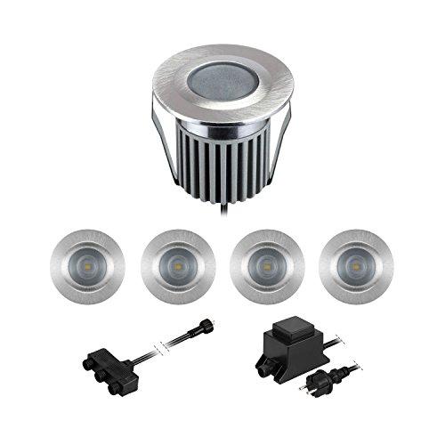 Parlat LED lámparas empotrables en el Suelo BODES para el Exterior, Blanca fría, 65lm/lámpara, Mate, Redondo, 50mm Ø, Juego de 5
