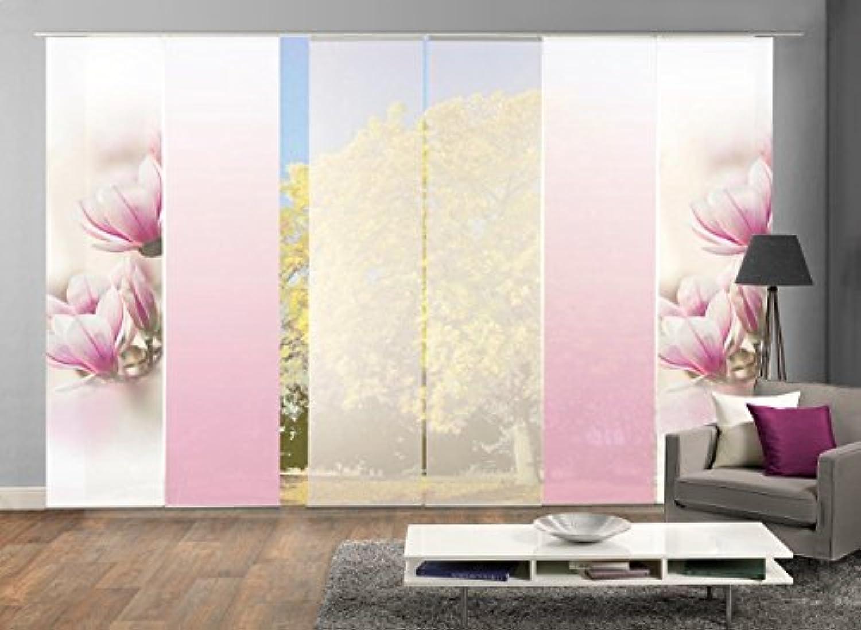 HOME WOHNIDEEN 96285  6er-Set Flchenvorhnge MAGNONE, blickdichter Deko-Stoff Blickdicht + halb-transparenter Halborganza, 6X 245x60 cm, inkl. hochwertigem Zubehr