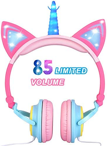 Glowing Unicorn Kids Headphones for Girls Boys – Cat Ear LED Headphones Wired Light Up Adjustable Foldable On Over Ear Headphone for Toddlers Kids Travel School Tablet Holiday Birthday Gift, Pink