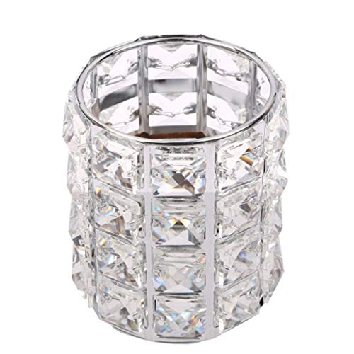 Pratcgoods Nail Art Crystal Pen Holder European Light Luxury Diamond Holder Makeup Brush Storage Box Metal Storage Finishing Tool Organizer Jewelry Box Glass Beads Eyebrow Pencil Storage Tube