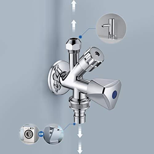Auralum Kombi-Eckventil 1/2 Zoll - Zum Anschluss von Spülmaschine und Waschmaschine usw. Eckventil Doppelanschluss und Schnell - Verlängern. Verchromt