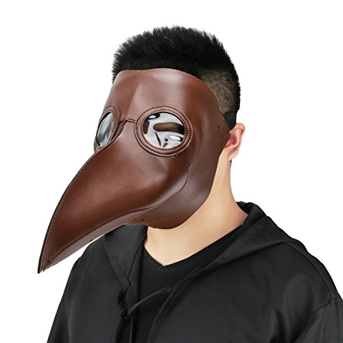 Plague Doctor Mask Birds Long Nose Beak Faux Leather Steampunk Halloween Costume Props (Brown)