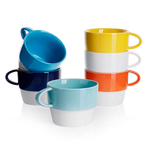 Sweese 407.002 Porcelain Cappuccino Cups - 320 ml Stackable Cups for Latte, Tea, Hot Chocolate, Set of 6, Hot Assorted Colors